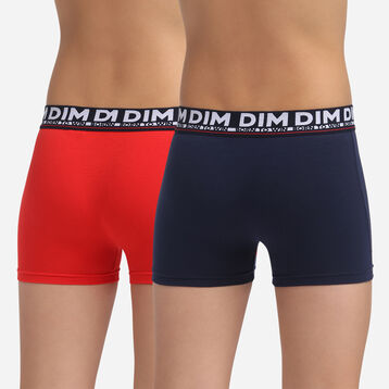 2 pack navy blue stretch cotton trunks Dim Boy, , DIM