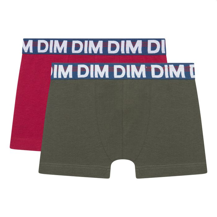 Pack of 2 boys' stretch cotton trunks with graphic belt Khaki Dim, , DIM