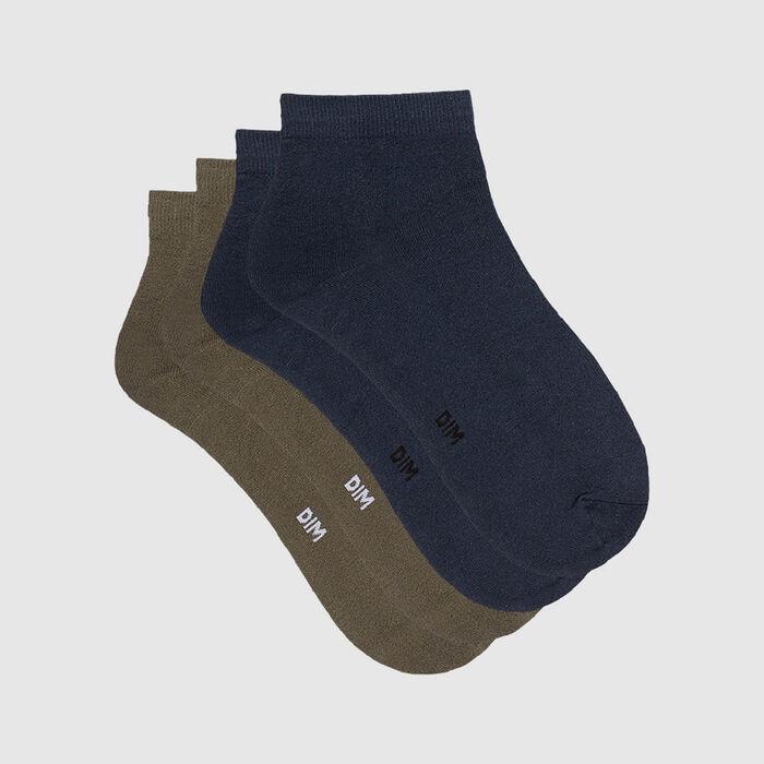 Dim Skin pack of 2 pairs of women's microfibre ankle socks Petrol Blue Olive, , DIM