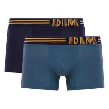 Lot de 2 boxers gris et bleu cobalt - Soft Touch Pop, , DIM