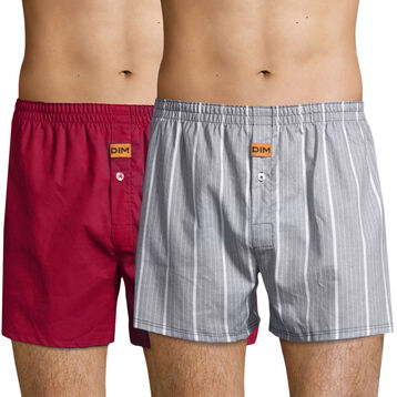 2 pack Men's 100% cotton trunks in Cherry Red and Stripe Print, , DIM