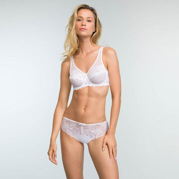 Women's white microfiber and lace briefs Generous Essentiel, , DIM