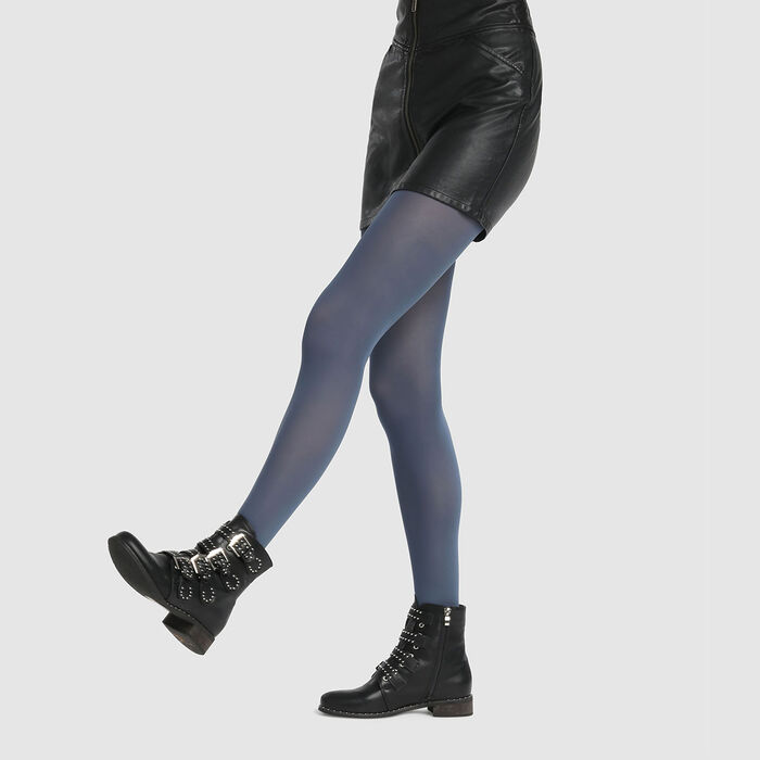 Dim Style 50D opaque velour tights in petrol blue, , DIM