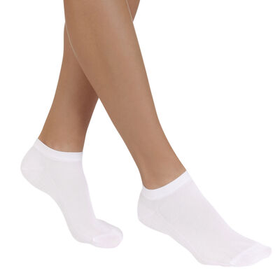 Pack of 2 pairs of white Light Coton invisible sock liners for women, , DIM