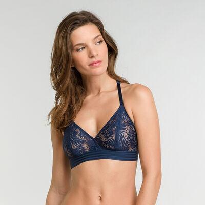 Dark blue lace wireless triangle bra - MOD de Dim, , DIM