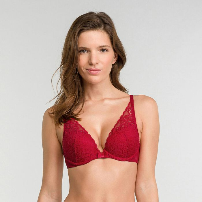 Imperial red push up triangle bra - Dim Sublim Dentelle, , DIM