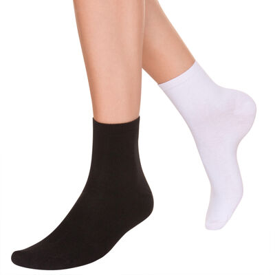 Pack of 2 pairs of white and black cotton sock liners, , DIM
