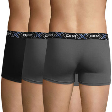 3 Pack X-Temp men's stretch cotton trunks in Dark Grey and Black, , DIM