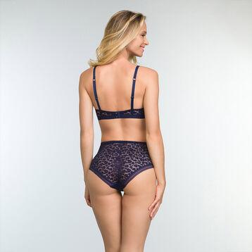 Culotte taille haute Bleu Infini en dentelle pour femme Leopard Line, , DIM