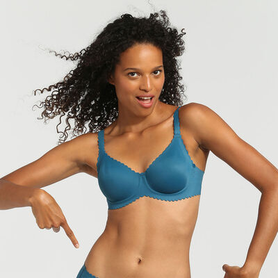 Dim Body Touch organic blue underwired balconette bra, , DIM