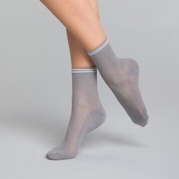 Cotton socks with silver mesh effect  - Dim Coton Style, , DIM