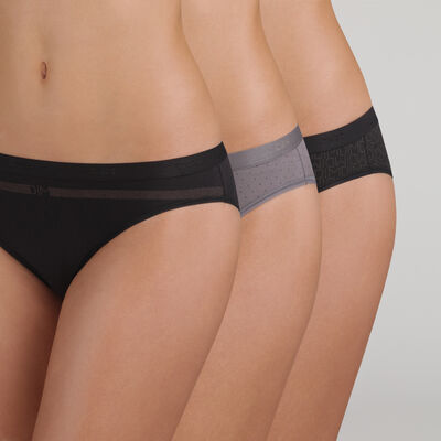Pack of 3 pairs of Les Pockets Coton bikini knickers in black, , DIM