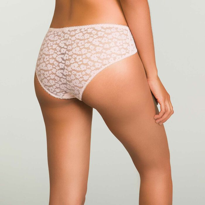Nude Pink laced and printed brief Leopard Line, , DIM