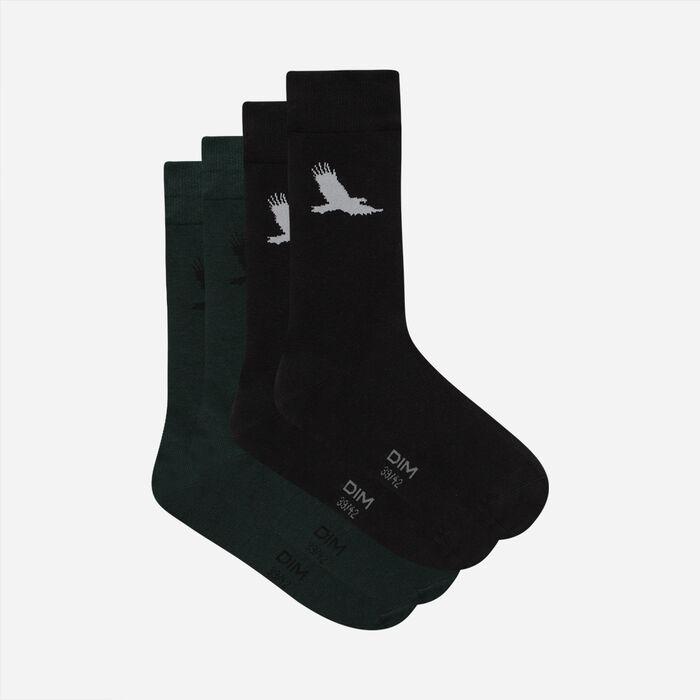 """Набор 2 шт.: мужские хлопковые носки зеленого цвета с принтом """"Орёл"""" Style, , DIM"""
