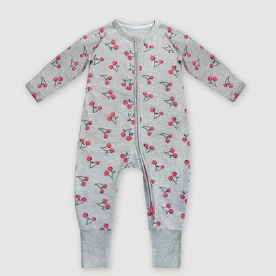 Pijama para bebé con cremallera de algodón elástico gris estampado cereza Dim Baby, , DIM