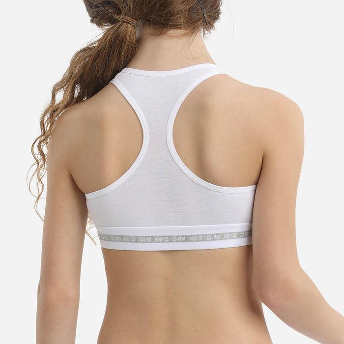 Dim Sport Girl's stretch  White  cotton bra with silver print, , DIM