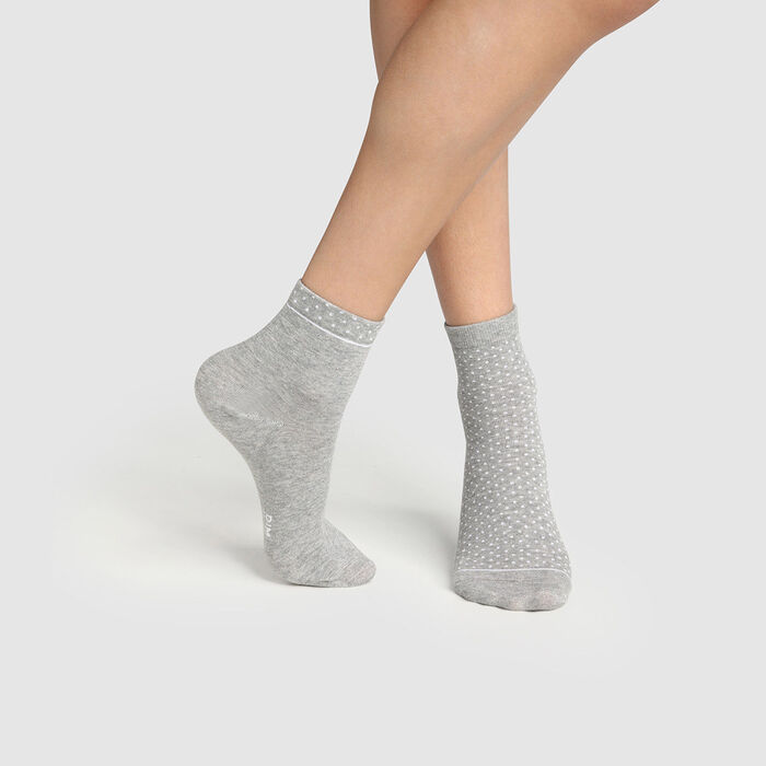Pack of  2 pairs of organic cotton women's socks with polka dots Grey Green by Dim, , DIM