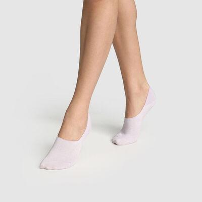 Набор 2 шт.: розовые женские следки с люрексом Cotton Style, , DIM