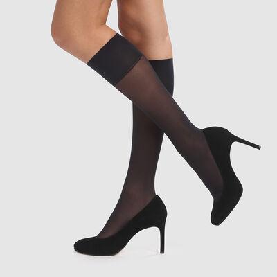 2 pack recycled semi-opaque black knee-socks 25D Green by Dim, , DIM