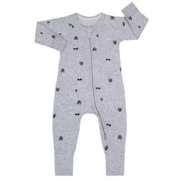 Pyjama zippé bouclettes imprimé Indien gris, , DIM