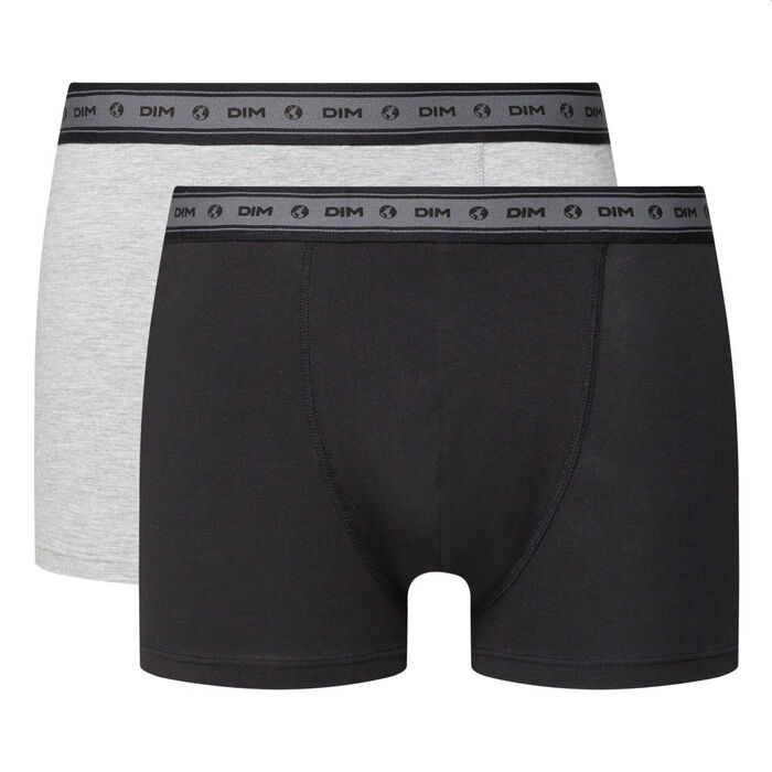 Green by Dim pack of 2 men's organic stretch cotton trunks in black and pearl grey, , DIM