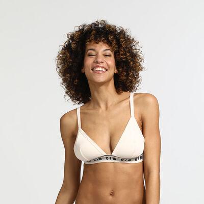Underwired triangle bra in cream Originals Cotton, , DIM