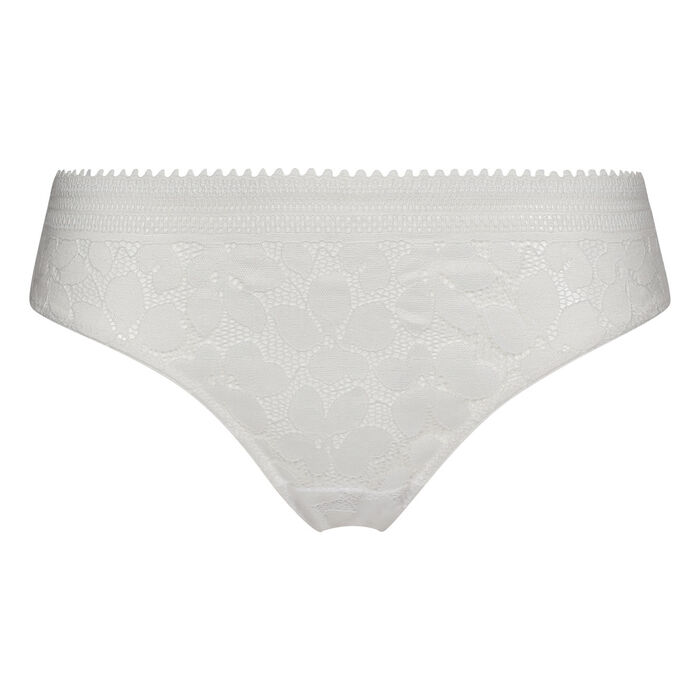 Women's lace briefs with floral patterns White Daily Glam, , DIM
