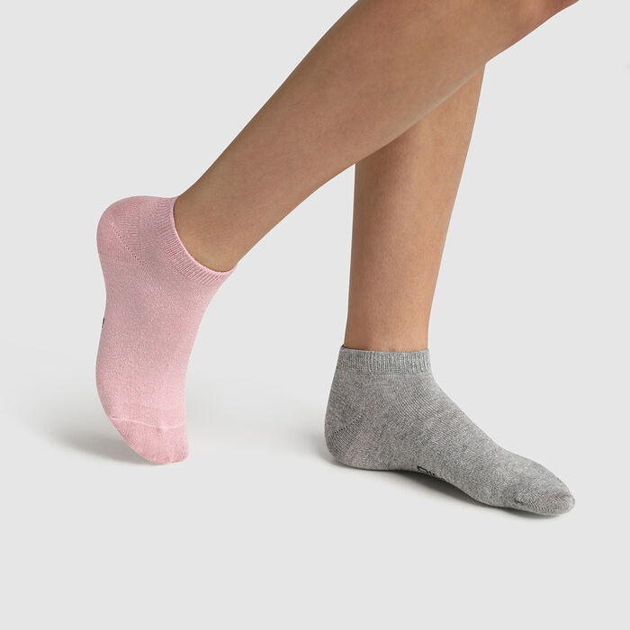 Pack of 2 pairs of grey pink lurex cotton children's socks Cotton Style, , DIM