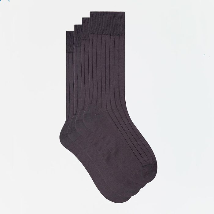 2 pack men's socks in anthracite grey Scottish yarn, , DIM