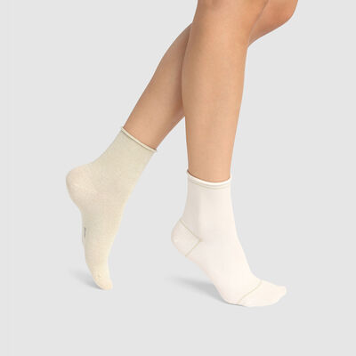 Cotton Style pack of 2 pairs of ankle socks in ivory cotton and gold lurex , , DIM