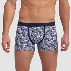 Mix and Fancy stretch cotton trunks in palm tree print with contrast stitching, , DIM
