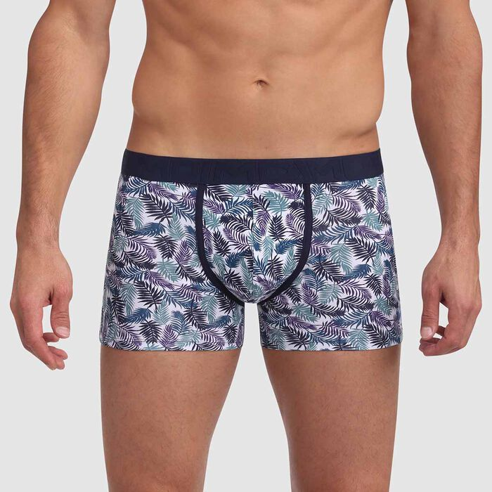 Boxer coton stretch imprimé palmiers ceinture contrastée Mix and Fancy, , DIM