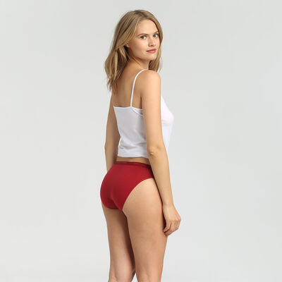 EcoDim Les Pockets pack of 3 stretch cotton briefs pink/brown/red, , DIM