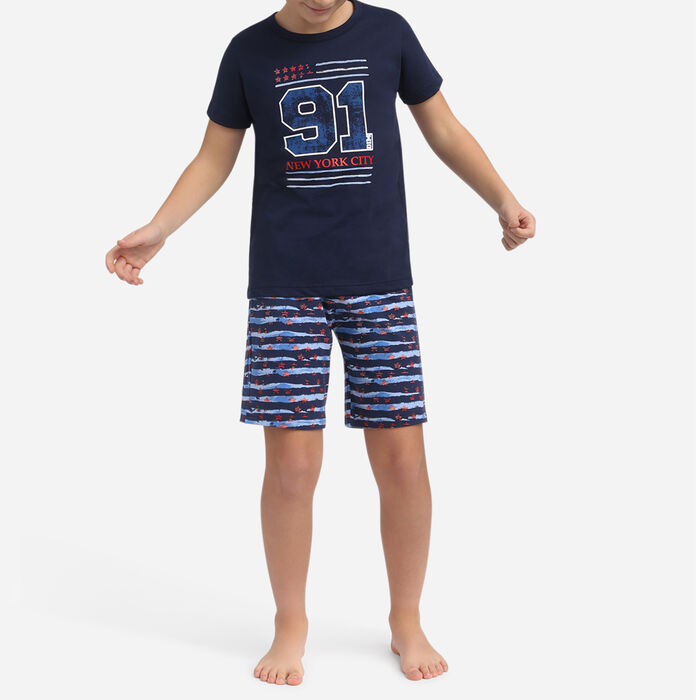 American Flag navy blue 100% cotton short pyjamas Dim Boy, , DIM