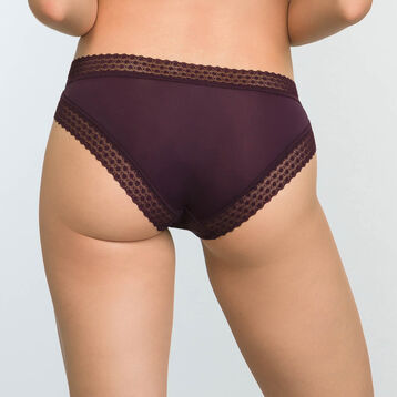 Women's Trendy Micro Precious Purple Microfiber and Lace Briefs, , DIM