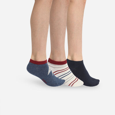 Pack of 3 Pairs of Kid's Navy Blue Storm Cotton Style Socks, , DIM