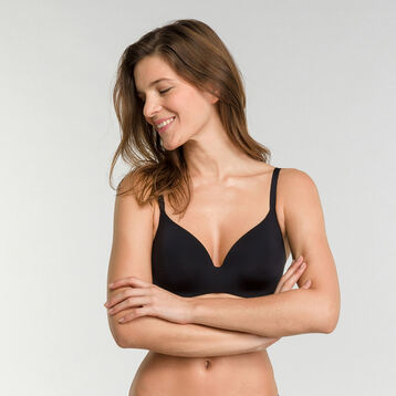 Non-wired invisible black bra - Dim InvisiFree, , DIM
