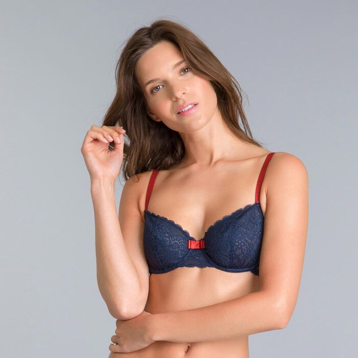 Sublim Dentelle midnight blue underwired bra, , DIM