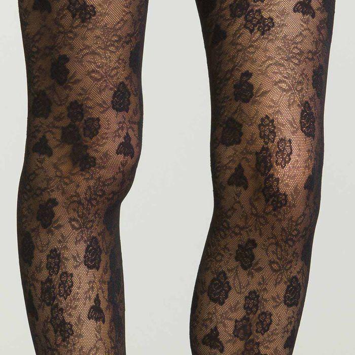 Collant noir pour femme à fleurs en dentelle semi-opaque, , DIM