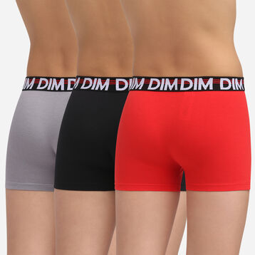 3 pack poppy red stretch cotton trunks Dim Promo Eco, , DIM