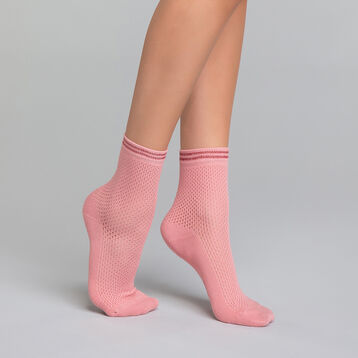 Cotton socks with pink mesh effect  - Dim Coton Style, , DIM