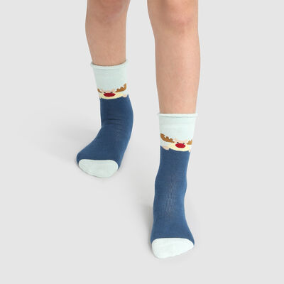 Chaussette enfant antidérapante bonhomme de neige Bleu Kids Cocoon, , DIM