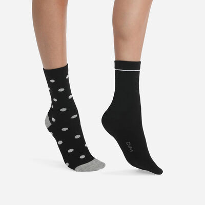 Pack of 2 pairs of Black Cotton Style women's socks with large polka dots, , DIM