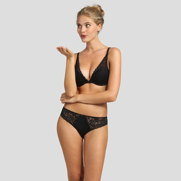 Lace black push-up triangle bra Dim Sublim , , DIM