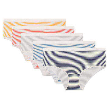5 pack shorties with retro stripes print Dim Les Pockets Stretch Cotton, , DIM
