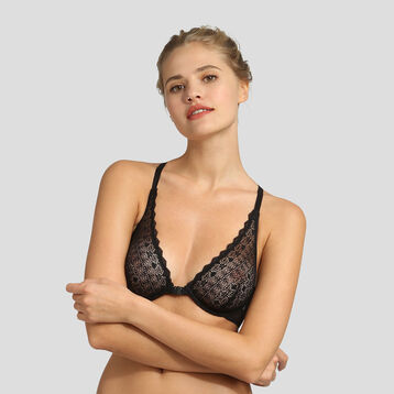 Black lace underwired triangle bra Dim Daily Glam, , DIM