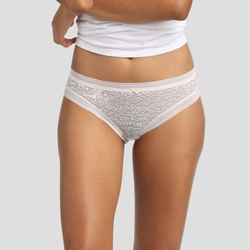 Pearly white laced briefs in microfiber with leopard print Dim Dotty Mesh Panty Box, , DIM