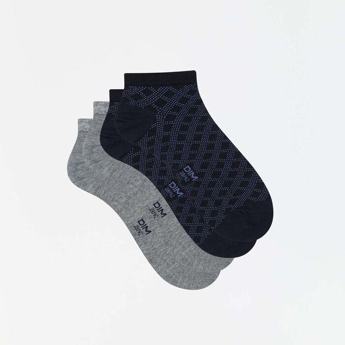 Lot de 2 paires de socquettes hommes imprimé lignes gris Coton Style, , DIM