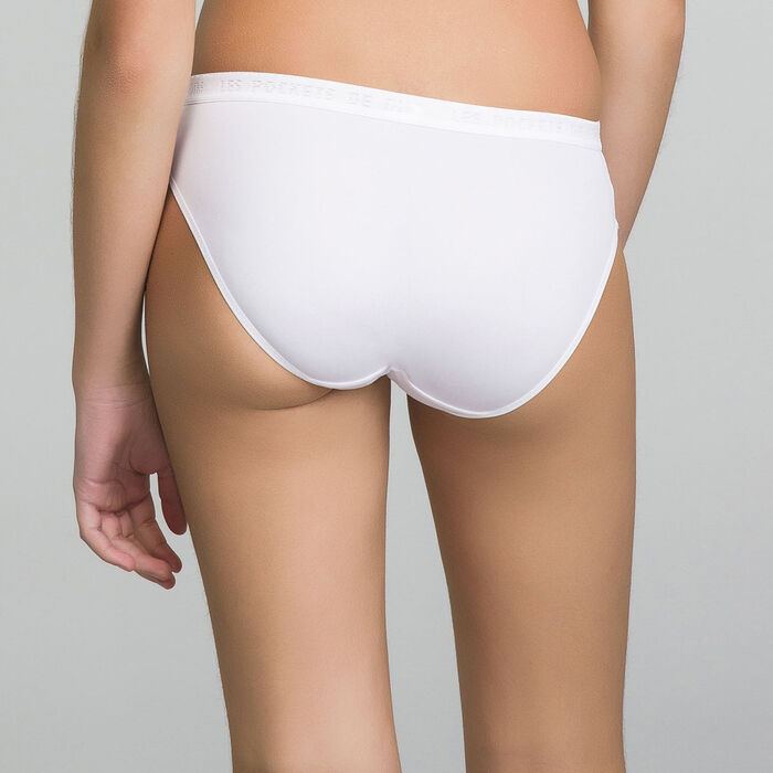 2 pack white briefs for girl - Pocket Micro, , DIM