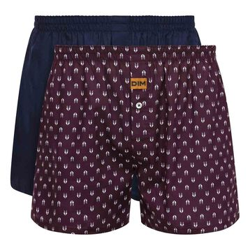 2 pack men's 100% cotton loose boxer shorts in Denim Blue and Wolf Print, , DIM